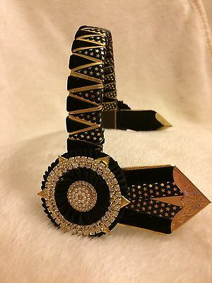 """13.5"""" Black & Gold Star Showing Browband *bling* Leather"""