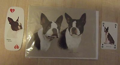 BOSTON TERRIER new greeting card & 2 single playing cards, dog collection