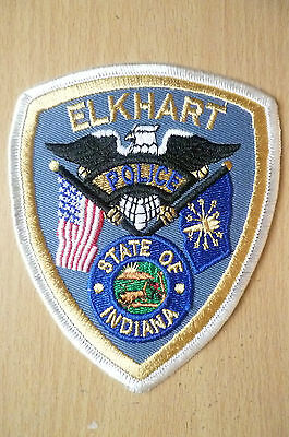 Patches: ELKHART STATE OF INDIANA POLICE PATCH (NEW* apx.12x10 cm)