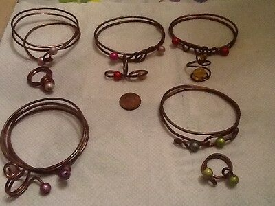 TOTAL 10 Vintage  Handmade FORMED Copper Wire RINGS AND BRACELETS lot 5A