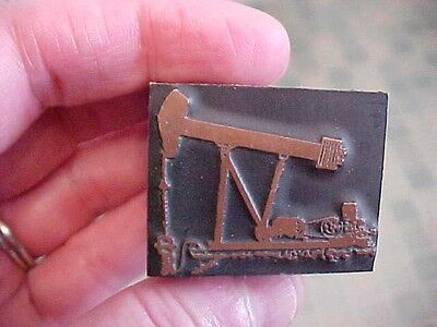 oil well pumper copper wood printing letterpress print block