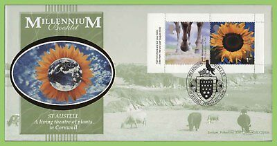 G.B. 2001 Stone & Soil booklet stamps Benham First Day Cover, St Austell