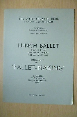 THE ARTS THEATRE CLUB LUNCH BALLET PROGRAMME, 13th FEBRUARY 1941
