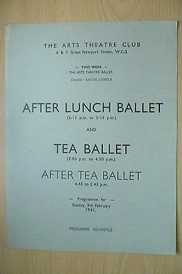 THE ARTS THEATRE CLUB LUNCH BALLET PROGRAMME, 9th FEBRUARY 1941