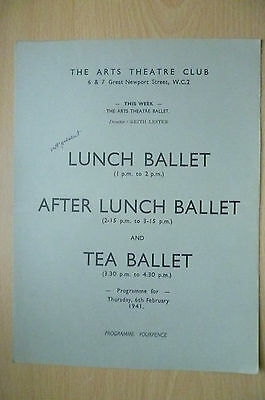THE ARTS THEATRE CLUB LUNCH BALLET & TEA BALLET PROGRAMME, 6th FEBRUARY 1941