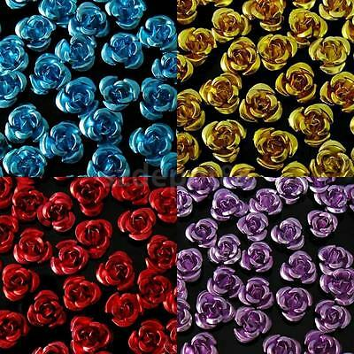 50/100/200 Aluminium Metal Rose Flower Spacer Beads Jewelry Making Finding 8mm