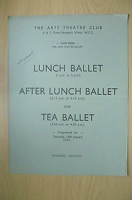 THE ARTS THEATRE CLUB LUNCH BALLET & TEA BALLET PROGRAMME, 18th January 1941