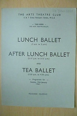 THE ARTS THEATRE CLUB LUNCH BALLET & TEA BALLET PROGRAMME, 19th January 1941