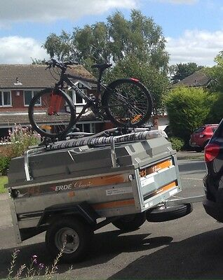 Erde 143 Trailer with Hard Top, Bars and Security Items. Bike Bars Not Included.