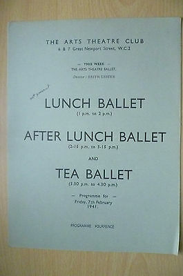 THE ARTS THEATRE CLUB LUNCH BALLET PROGRAMME, 7th FEBRUARY 1941