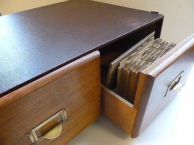 VINTAGE mid century Wooden Card Index Filing Cabinet  2 drawer table top display