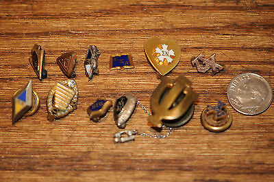 Lot of 12 Old Vintage Fraternity Jewelry Pins Pendants Buttons Schools Fraternal