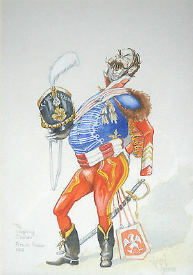 January Sale David Downe Watercolour Caricature A French Hussar 1812