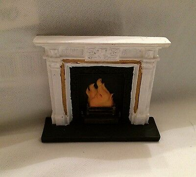 Dolls House White and Gold Fireplace 1;12 Scale