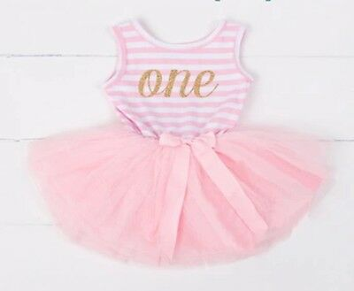 Baby Girls First 1st Birthday Outfit Tutu Skirt Dress Pink Cake Smash Party One