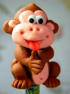 Polymer Clay Lovely Monkey Figurine Act On Top Of Wooden Pencil No.01