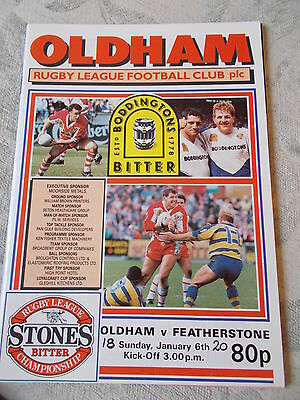Oldham v Featherstone Rovers programme 6.1.91