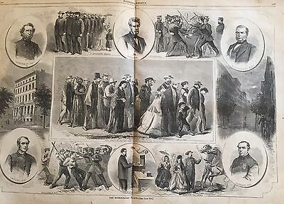 1865  Illustrated newspaper NYPD POSTER ENGRAVING Victorian New York City Police