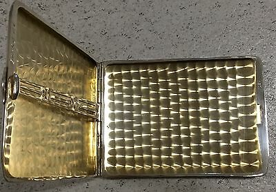 1926 Sterling Silver Cigarette Case Art Deco Antique With Inscription