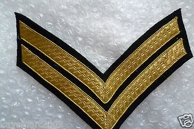 Patch- Chevron, 2 Bar Rank Badge, Mess Dress, Gold on Black, Army,Military(New*)