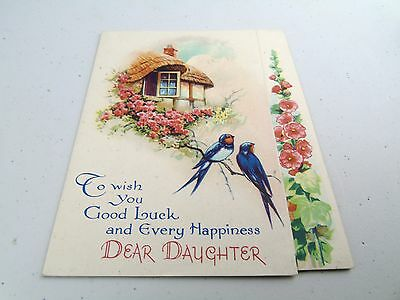 Antique To Wish You Good Luck Happiness Daughter Birthday Card  Postcard Vintage