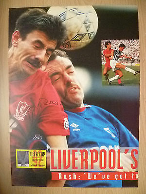 100% Genuine Hand Signed Press Cutting of Liverpool FC Player- IAN RUSH~UEFA CUP
