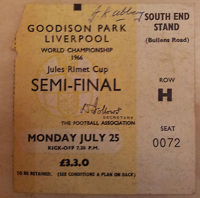 1966 World Cup Semi Final Ticket West Germany v USSR / RUSSIA (Original)