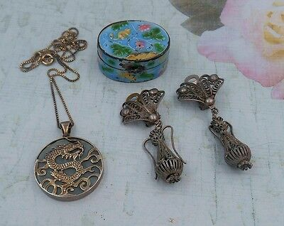 ESTATE COLLECTION LOT Oriental jewelry jade dragon necklace ornate earrings box