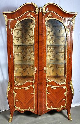 Fine antique style French Empire rosewood ormolu cabinet china hutch vitrine