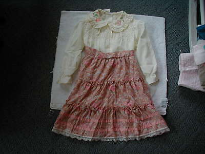 vintage girls dress 6x victorian style lace ruffles Gunne Saxe style 1970s