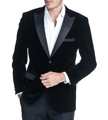 Men's Black Velvet Tuxedo Jacket w/ Satin Peak Lapel & Trim NEW