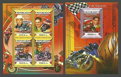Guinea 2015 Motorbikes Motorcycles Films Mc Queen Set Of 2 Sheets Mnh