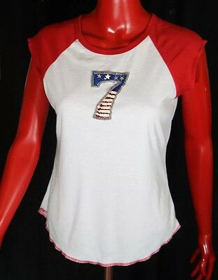 Vintage Red & White Baseball Raglan T-Shirt With Star Spangled Sequin Lucky 7