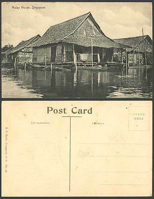 Singapore Old Postcard Malay House Native Houses above Water K.P. Hock S.S.No.33