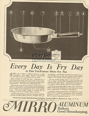 1919 Aluminum Goods Manufacturing Co-Manitowoc WI-Mirro Fry Pan Kitchen Decor Ad