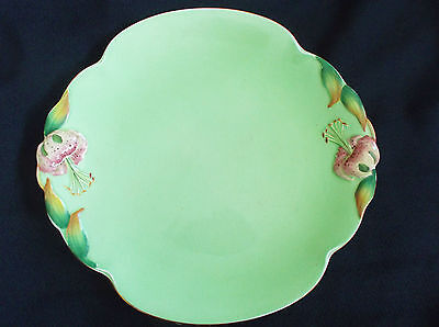 "Royal Winton Grimwades Green ""Tiger Lily"" Cake Plate"