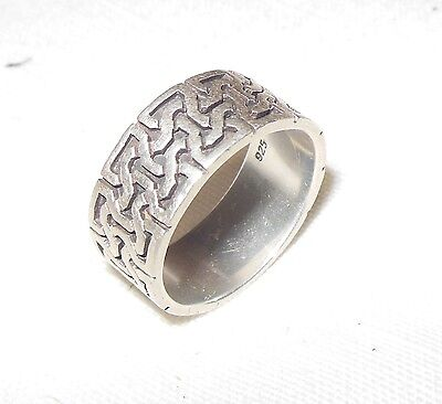 Mens Celtic Gothic Ring Size 9 Solid Sterling Silver Band 925 Interlocking 7's