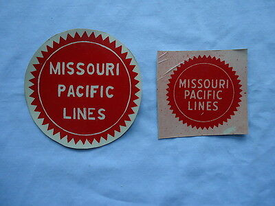 Missouri Pacific Railroad Two Small Reflective Stickers Buzzsaw Logo