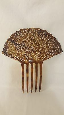 "Antique VICTORIAN Large 6"" TORTOISE SHELL Celluloid HAIR COMB Mantilla"