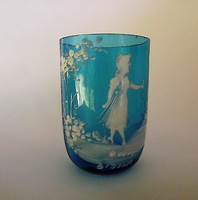 Mary Gregory Turquoise Blue Glass Antique Tumbler Glass White Girl