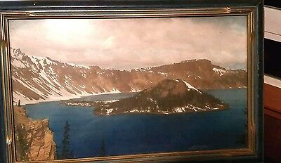 Vintage Crater Lake Genuine Oil Colored Photograph