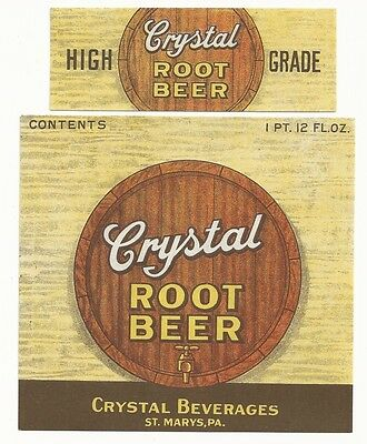 1930's Crystal Root Beer 28 oz. Label With Neck - St. Marys, PA