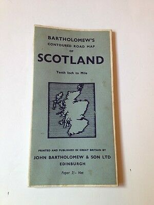 Vintage Road Map Bartholomenws Contorted Map Of Scotland Paper Tenth Inch Mile