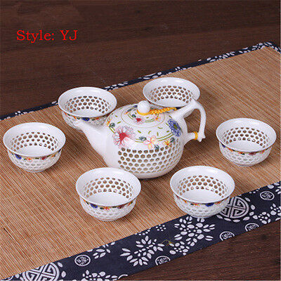 Blue and White Porcelain China Kung Fu Teaset Ceramic One Teapot and 6 Cups