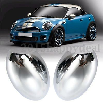 2x Left & Right Door Wing Mirror Back Cover Casing Cap For BMW Mini Cooper S One