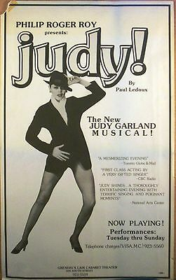 """JUDY!"" Another GARLAND MUSICAL Window Card Philadelphia 1970s Paul Ledoux"