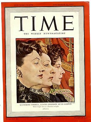 1942 TIME Mag Cover Three Sisters KATHARINE CORNELL JUDITH ANDERSON RUTH GORDON