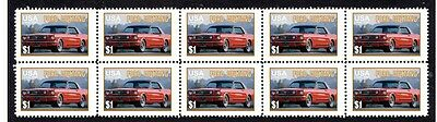 Ford Mustang Auto Icon Strip Of 10 Mint Stamps #1
