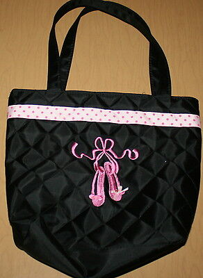 """Girl's Ballet Tote Bag Black, Pink with Embroidery 12"""" x 10"""""""