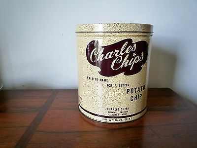 """Vintage """"Charles Chips"""" Advertising Potato Chip 1960's Tin Can"""